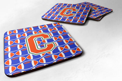 Buy this Letter C Football Green, Blue and Orange Foam Coaster Set of 4 CJ1083-CFC