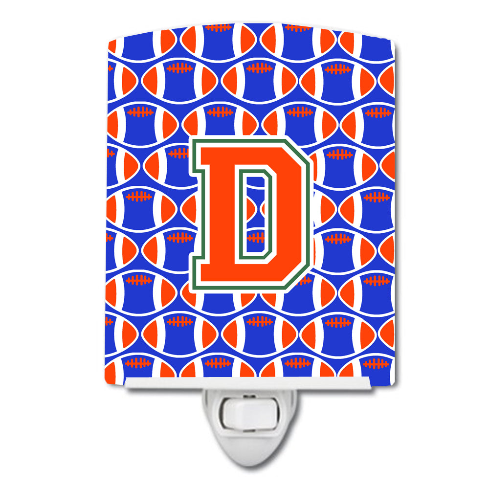 Letter D Football Green, Blue and Orange Ceramic Night Light CJ1083-DCNL by Caroline's Treasures