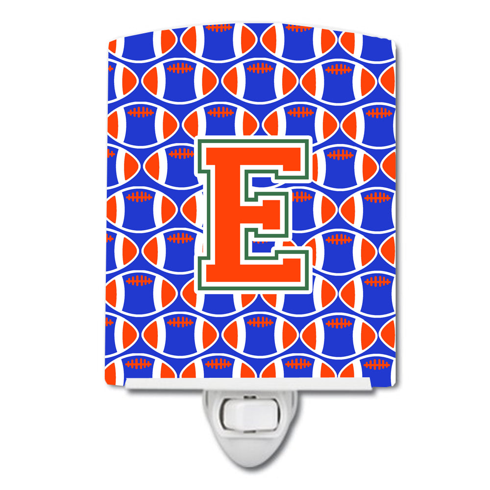 Buy this Letter E Football Green, Blue and Orange Ceramic Night Light CJ1083-ECNL