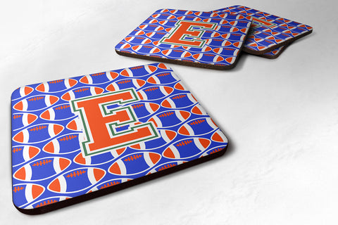 Buy this Letter E Football Green, Blue and Orange Foam Coaster Set of 4 CJ1083-EFC