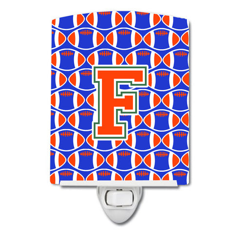 Buy this Letter F Football Green, Blue and Orange Ceramic Night Light CJ1083-FCNL