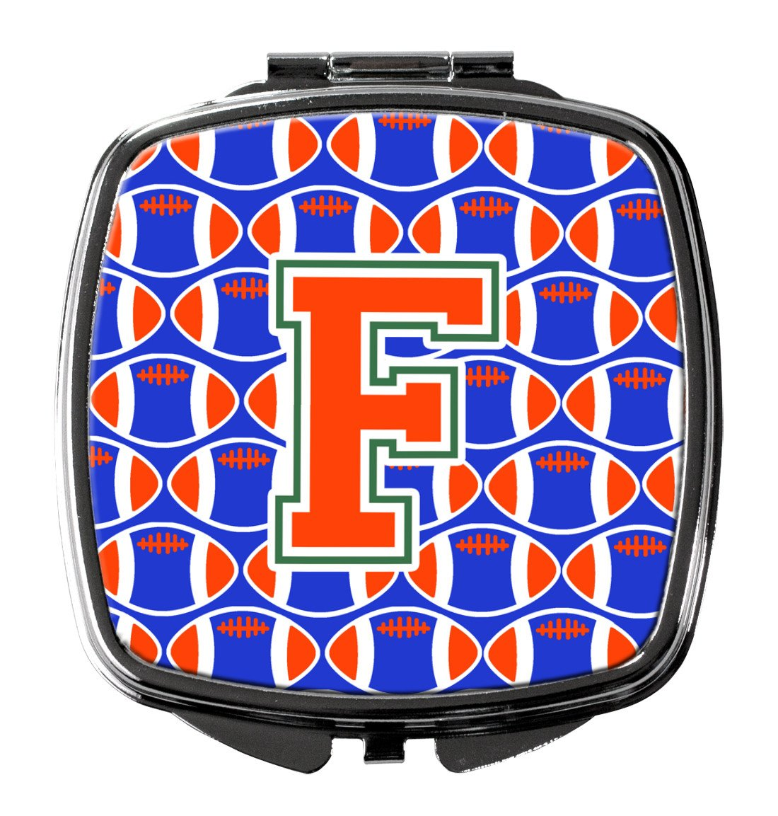 Buy this Letter F Football Green, Blue and Orange Compact Mirror CJ1083-FSCM