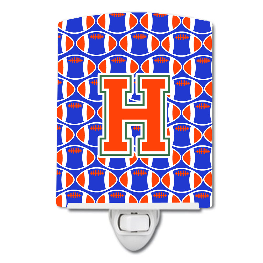Letter H Football Green, Blue and Orange Ceramic Night Light CJ1083-HCNL by Caroline's Treasures
