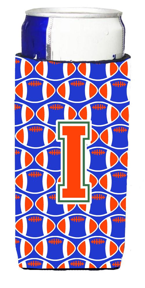 Letter I Football Green, Blue and Orange Ultra Beverage Insulators for slim cans CJ1083-IMUK by Caroline's Treasures