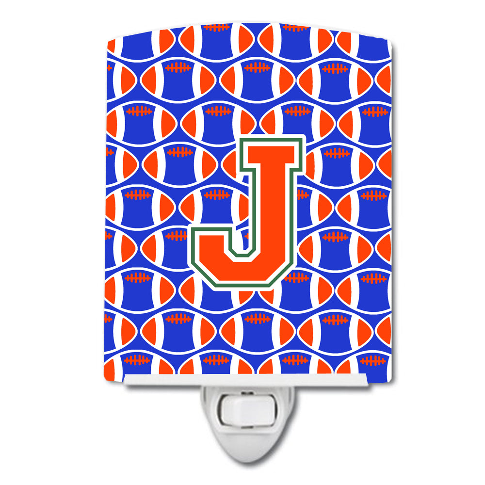 Letter J Football Green, Blue and Orange Ceramic Night Light CJ1083-JCNL by Caroline's Treasures