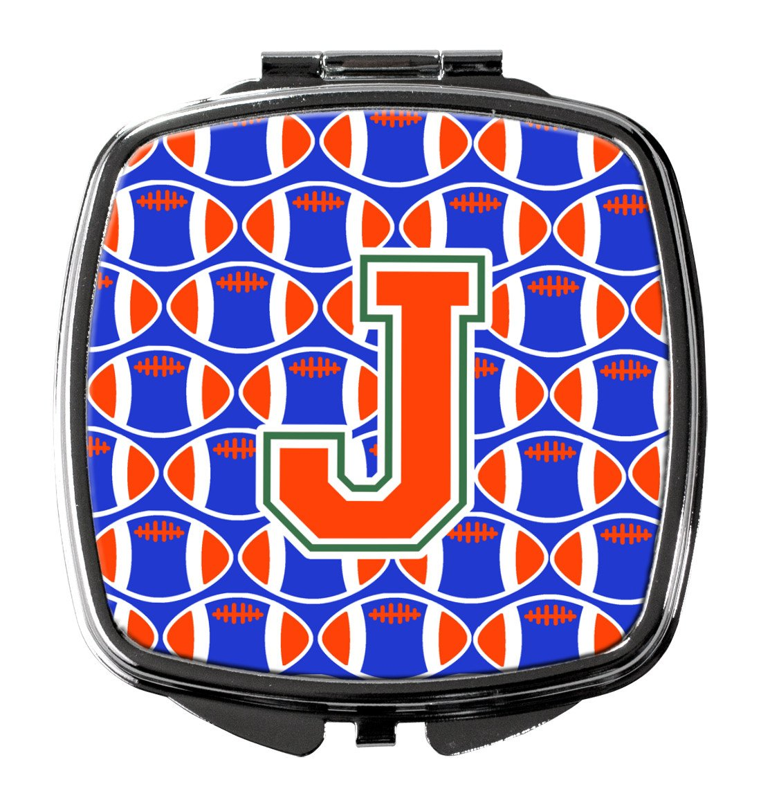 Buy this Letter J Football Green, Blue and Orange Compact Mirror CJ1083-JSCM