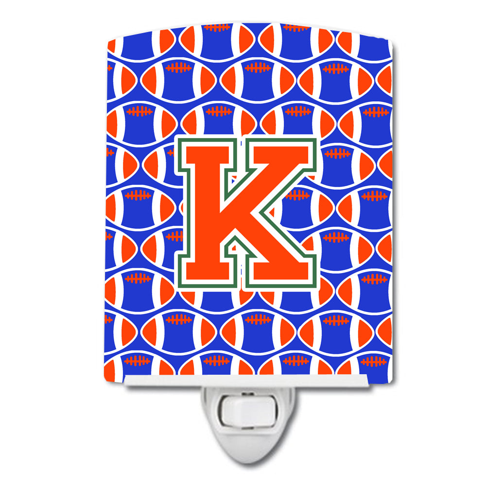 Buy this Letter K Football Green, Blue and Orange Ceramic Night Light CJ1083-KCNL