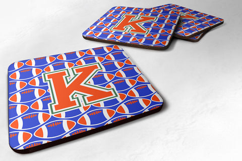 Buy this Letter K Football Green, Blue and Orange Foam Coaster Set of 4 CJ1083-KFC