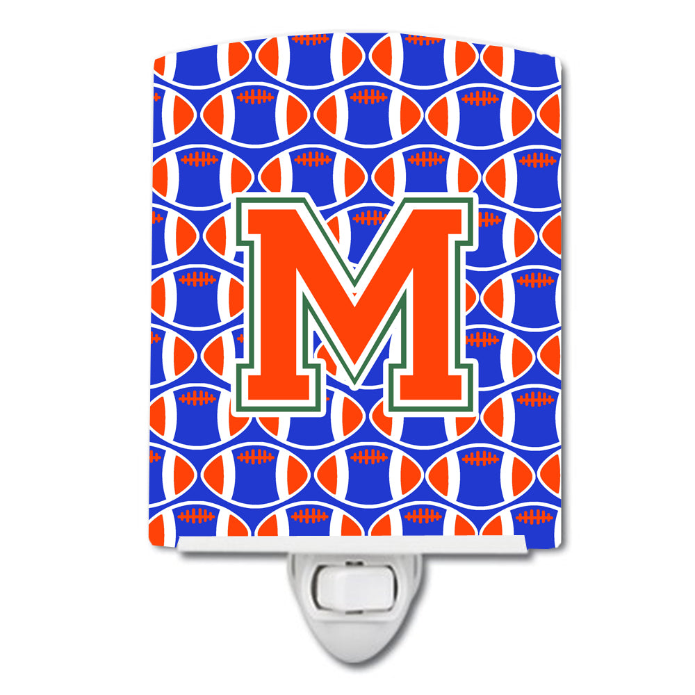 Letter M Football Green, Blue and Orange Ceramic Night Light CJ1083-MCNL by Caroline's Treasures