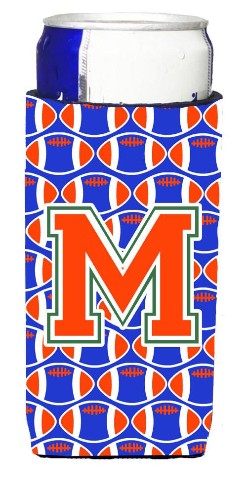 Letter M Football Green, Blue and Orange Ultra Beverage Insulators for slim cans CJ1083-MMUK by Caroline's Treasures