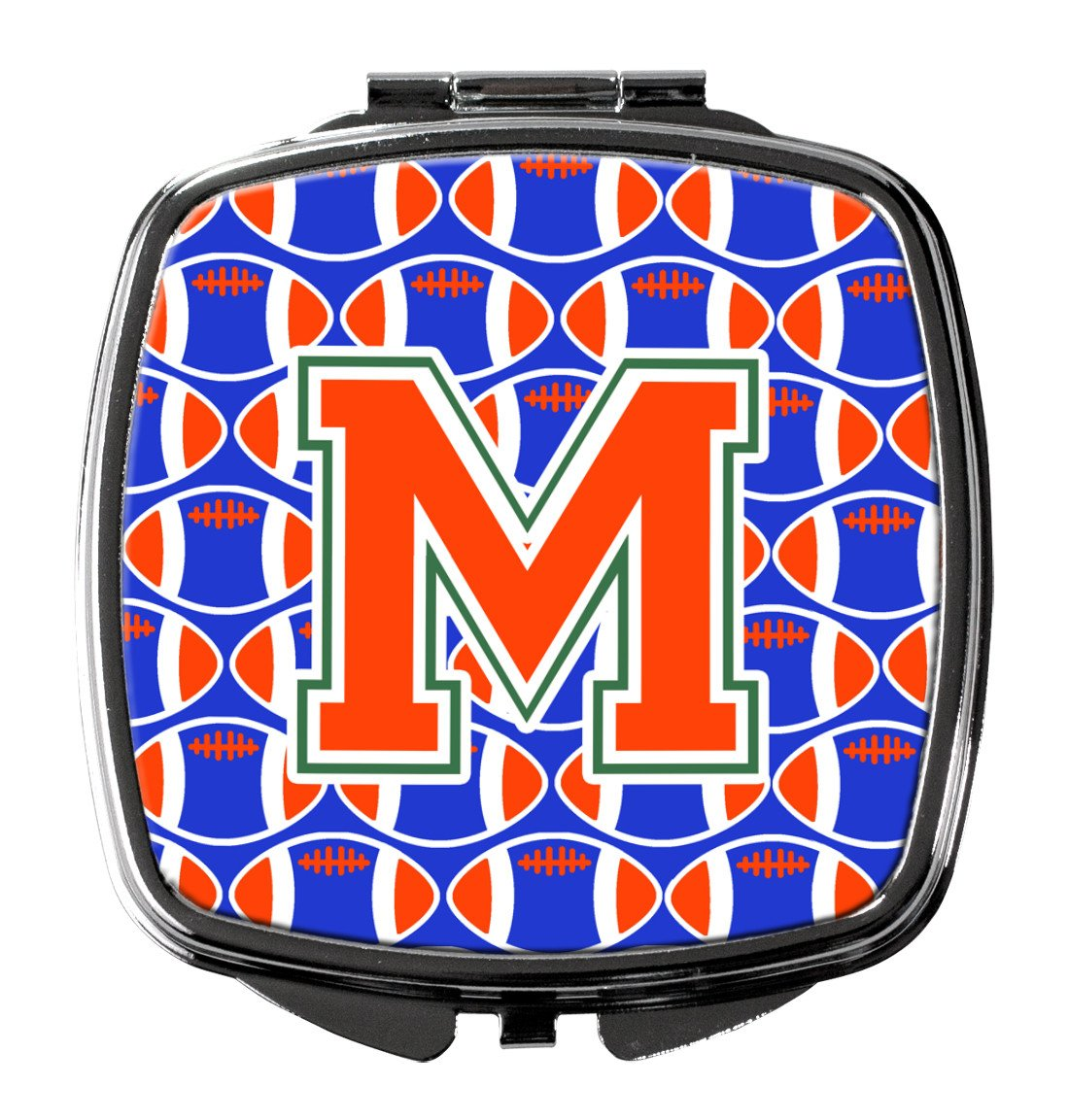 Letter M Football Green, Blue and Orange Compact Mirror CJ1083-MSCM by Caroline's Treasures