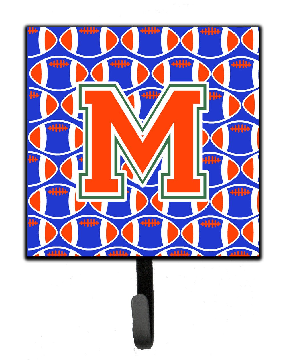 Letter M Football Green, Blue and Orange Leash or Key Holder CJ1083-MSH4 by Caroline's Treasures