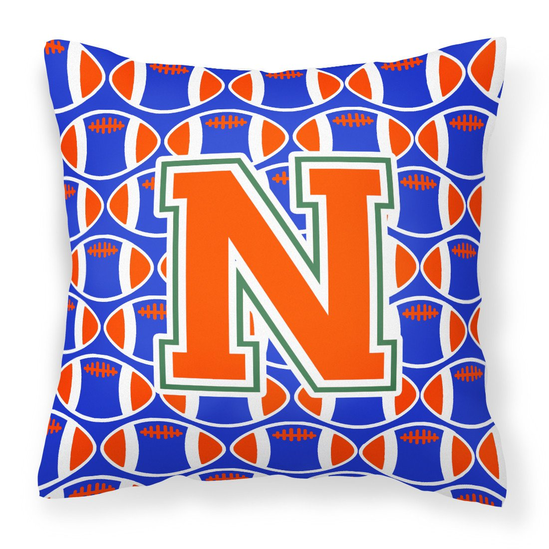 Letter N Football Green, Blue and Orange Fabric Decorative Pillow CJ1083-NPW1414 by Caroline's Treasures