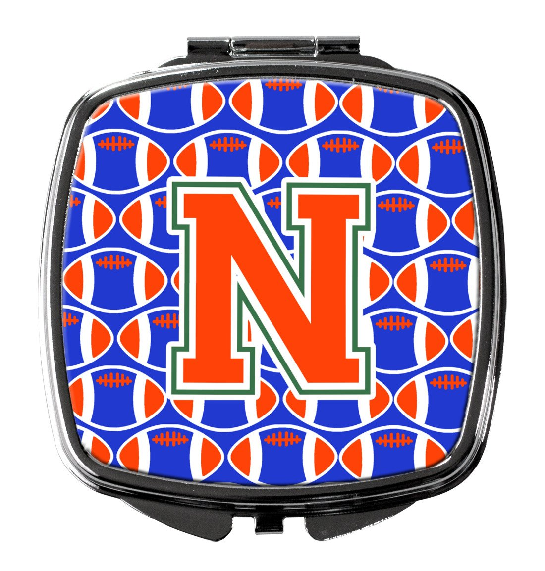 Letter N Football Green, Blue and Orange Compact Mirror CJ1083-NSCM by Caroline's Treasures