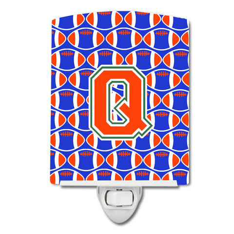 Buy this Letter Q Football Green, Blue and Orange Ceramic Night Light CJ1083-QCNL