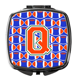 Buy this Letter Q Football Green, Blue and Orange Compact Mirror CJ1083-QSCM