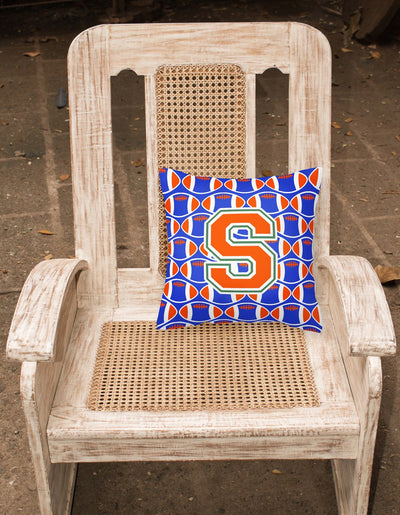 Letter S Football Green, Blue and Orange Fabric Decorative Pillow CJ1083-SPW1414