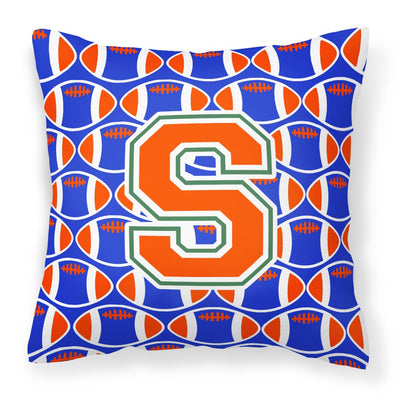 Buy this Letter S Football Green, Blue and Orange Fabric Decorative Pillow CJ1083-SPW1414