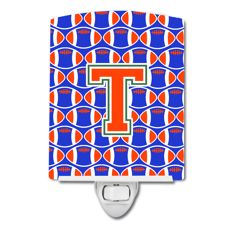 Buy this Letter T Football Green, Blue and Orange Ceramic Night Light CJ1083-TCNL