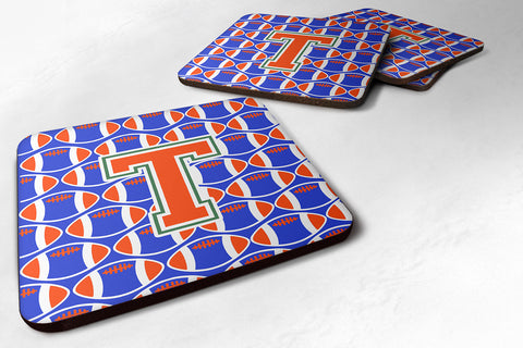 Buy this Letter T Football Green, Blue and Orange Foam Coaster Set of 4 CJ1083-TFC