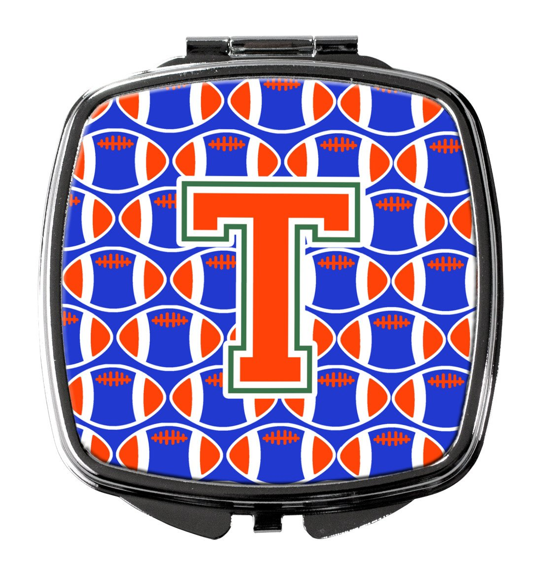 Buy this Letter T Football Green, Blue and Orange Compact Mirror CJ1083-TSCM
