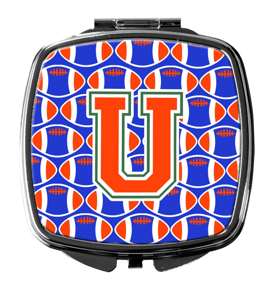 Buy this Letter U Football Green, Blue and Orange Compact Mirror CJ1083-USCM