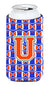 Buy this Letter U Football Green, Blue and Orange Tall Boy Beverage Insulator Hugger CJ1083-UTBC