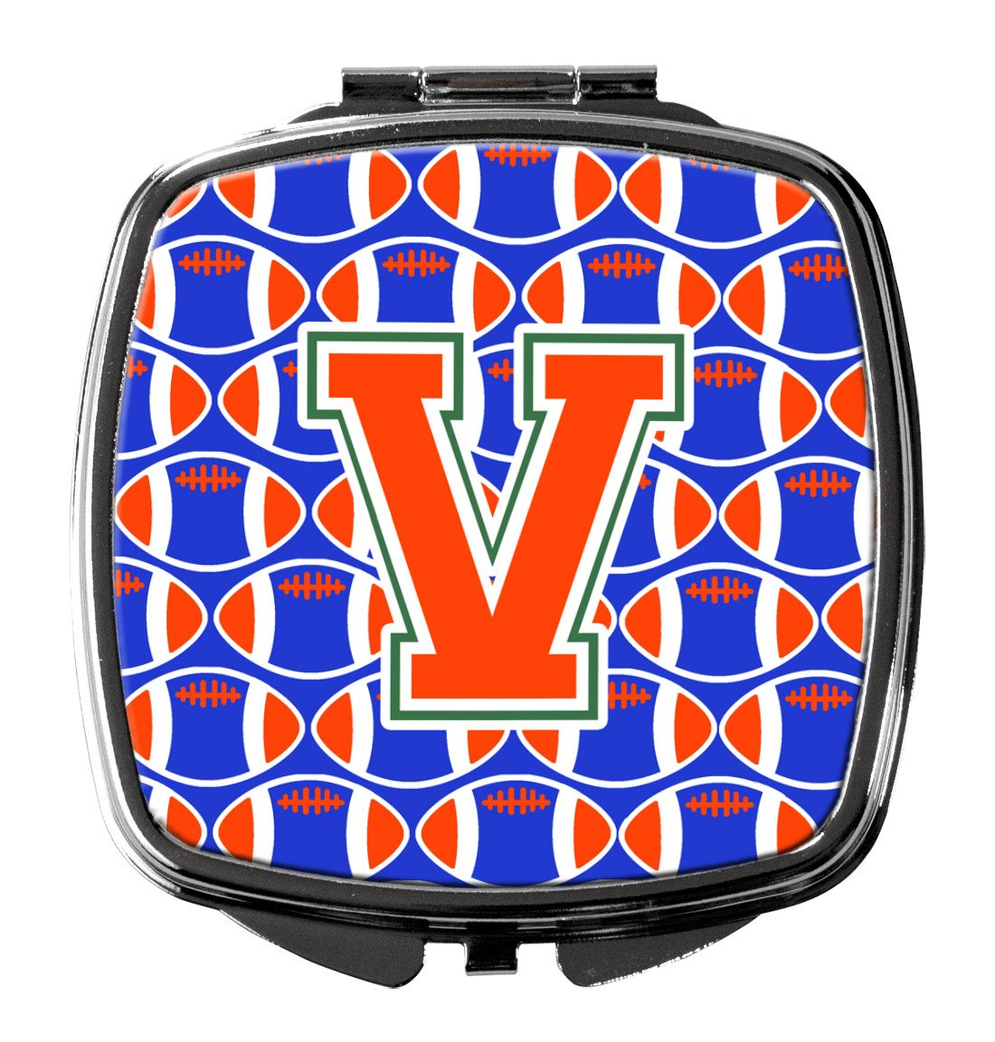 Buy this Letter V Football Green, Blue and Orange Compact Mirror CJ1083-VSCM