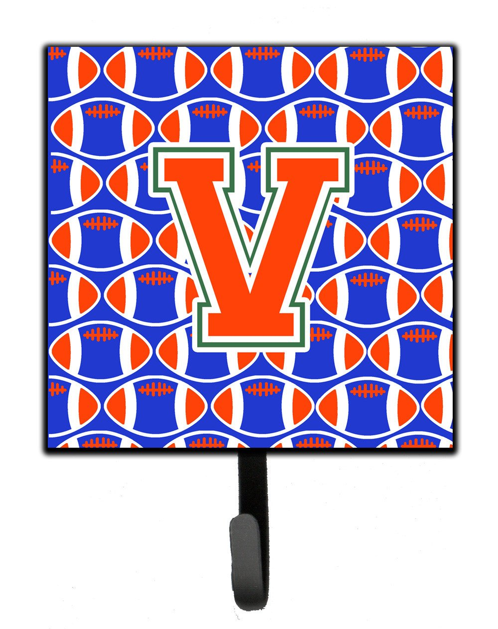 Letter V Football Green, Blue and Orange Leash or Key Holder CJ1083-VSH4 by Caroline's Treasures