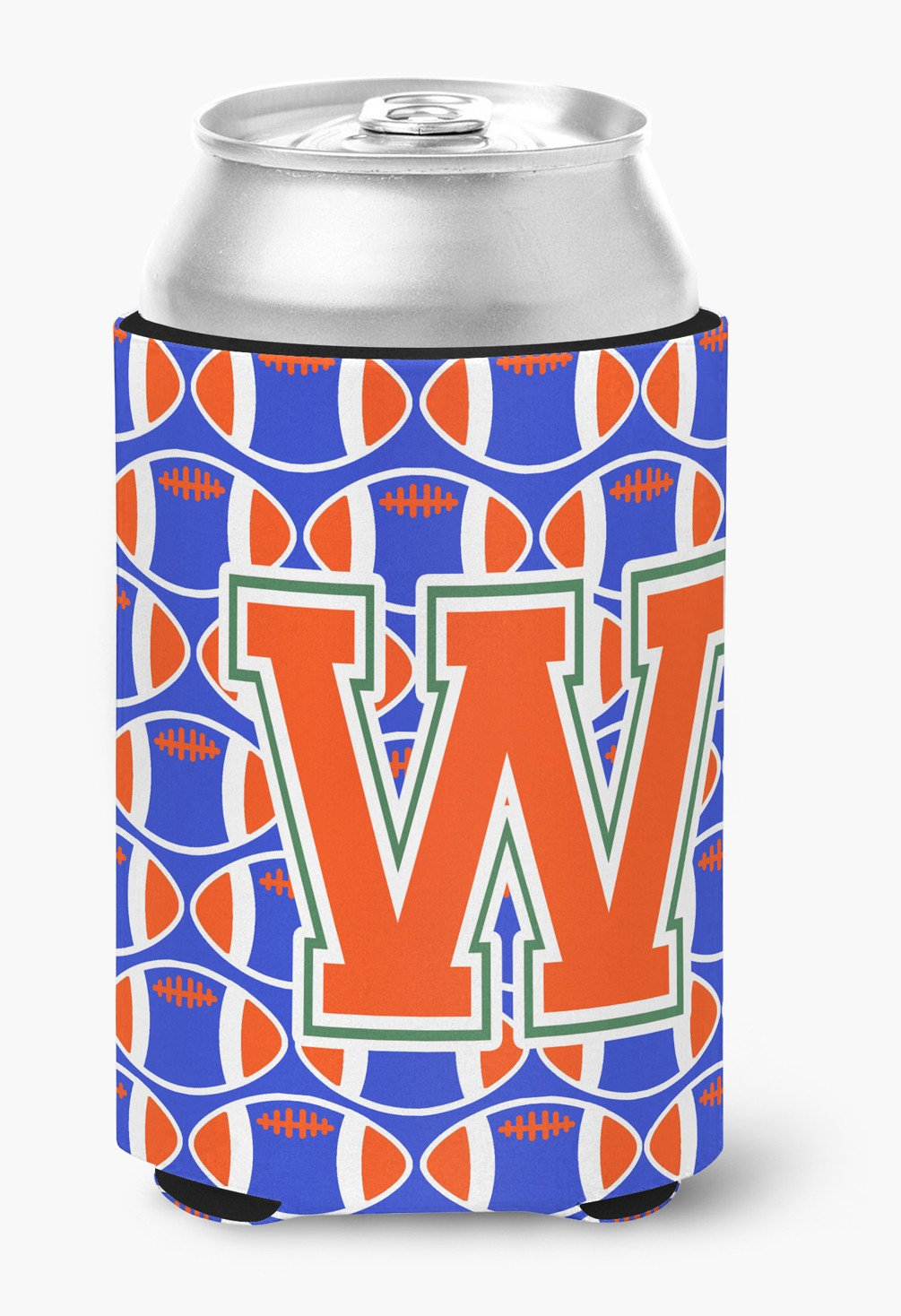 Buy this Letter W Football Green, Blue and Orange Can or Bottle Hugger CJ1083-WCC