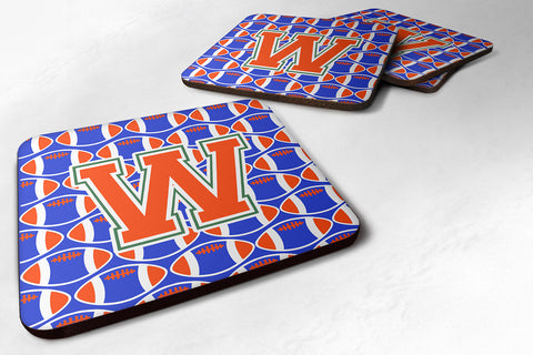Buy this Letter W Football Green, Blue and Orange Foam Coaster Set of 4 CJ1083-WFC