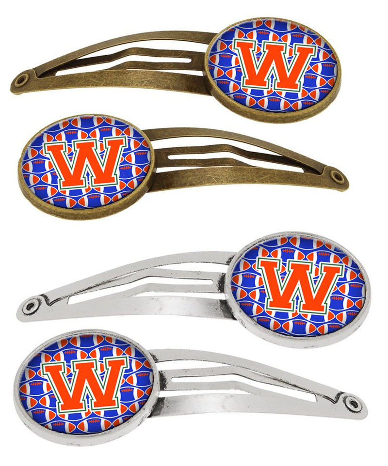 Buy this Letter W Football Green, Blue and Orange Set of 4 Barrettes Hair Clips CJ1083-WHCS4