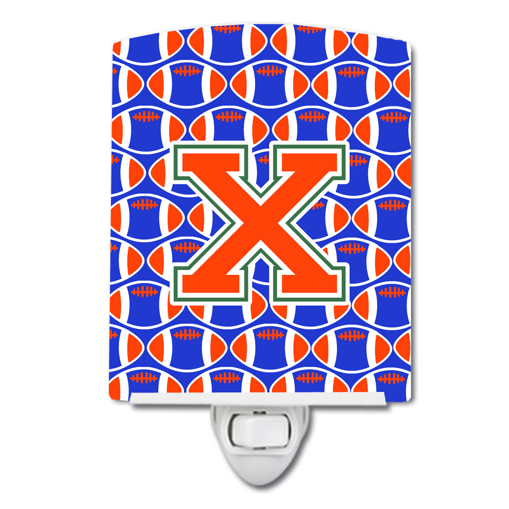 Buy this Letter X Football Green, Blue and Orange Ceramic Night Light CJ1083-XCNL