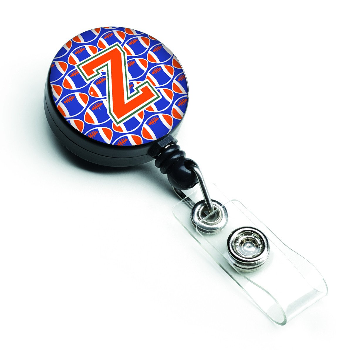 Letter Z Football Green, Blue and Orange Retractable Badge Reel CJ1083-ZBR by Caroline's Treasures