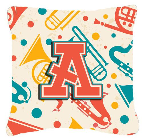 Buy this Letter A Retro Teal Orange Musical Instruments Initial Canvas Fabric Decorative Pillow