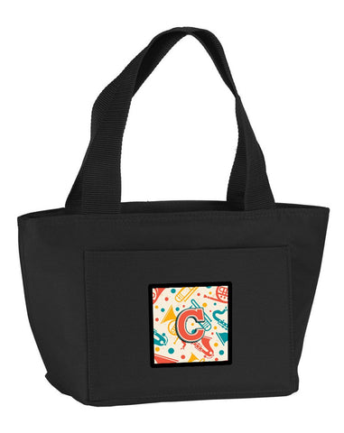 Buy this Letter C Retro Teal Orange Musical Instruments Initial Lunch Bag CJ2001-CBK-8808