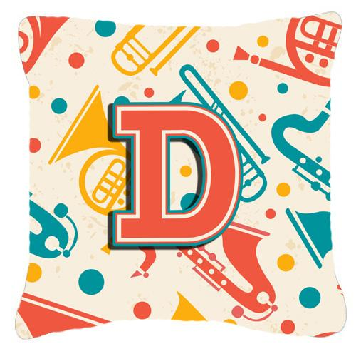 Letter D Retro Teal Orange Musical Instruments Initial Canvas Fabric Decorative Pillow by Caroline's Treasures