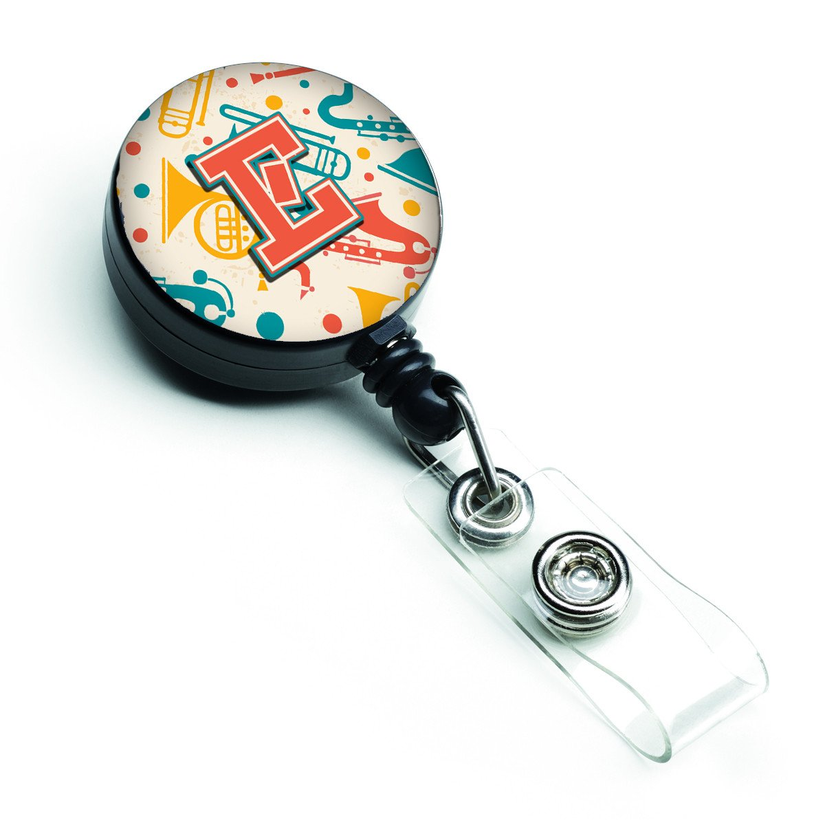Letter E Retro Teal Orange Musical Instruments Initial Retractable Badge Reel CJ2001-EBR by Caroline's Treasures