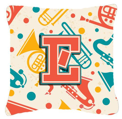 Buy this Letter E Retro Teal Orange Musical Instruments Initial Canvas Fabric Decorative Pillow