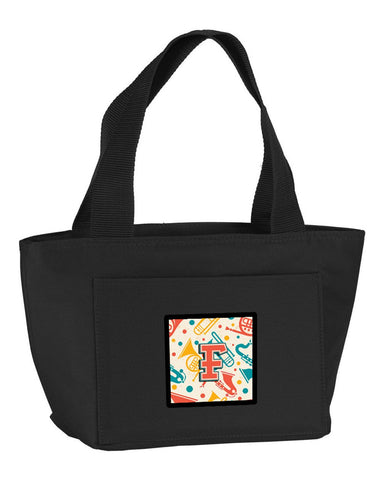Buy this Letter F Retro Teal Orange Musical Instruments Initial Lunch Bag CJ2001-FBK-8808