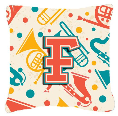 Letter F Retro Teal Orange Musical Instruments Initial Canvas Fabric Decorative Pillow by Caroline's Treasures