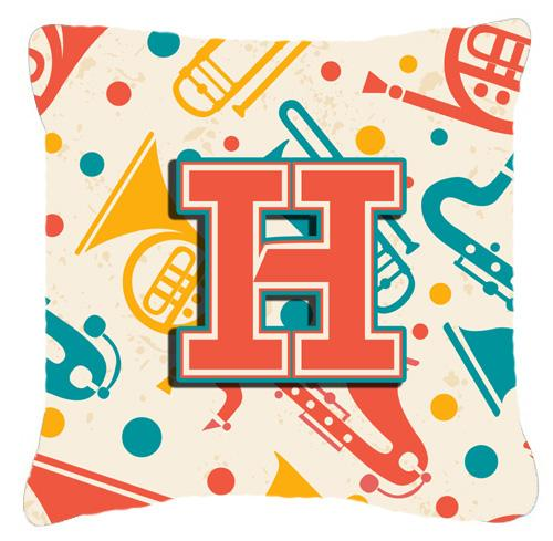 Letter H Retro Teal Orange Musical Instruments Initial Canvas Fabric Decorative Pillow by Caroline's Treasures