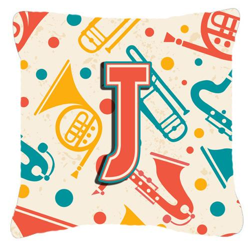 Letter J Retro Teal Orange Musical Instruments Initial Canvas Fabric Decorative Pillow by Caroline's Treasures