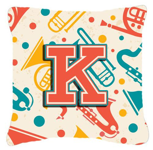 Buy this Letter K Retro Teal Orange Musical Instruments Initial Canvas Fabric Decorative Pillow