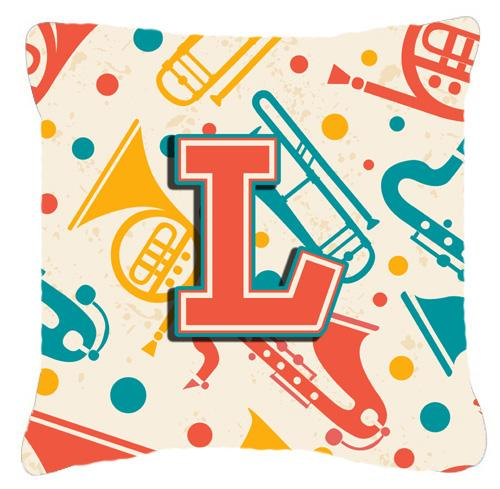 Letter L Retro Teal Orange Musical Instruments Initial Canvas Fabric Decorative Pillow by Caroline's Treasures