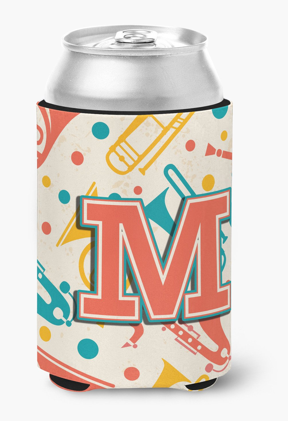 Letter M Retro Teal Orange Musical Instruments Initial Can or Bottle Hugger CJ2001-MCC by Caroline's Treasures