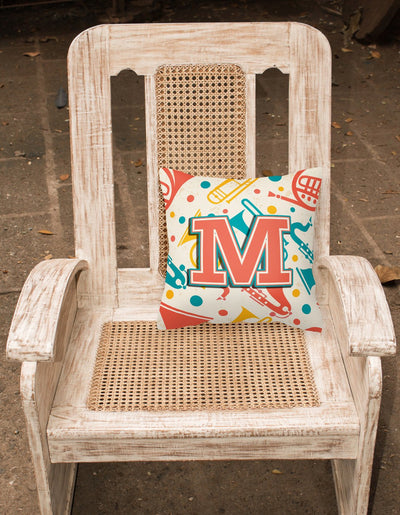 Letter M Retro Teal Orange Musical Instruments Initial Canvas Fabric Decorative Pillow CJ2001-MPW1414