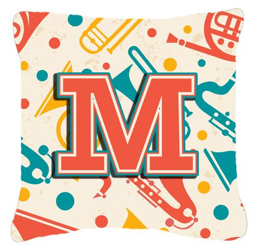 Letter M Retro Teal Orange Musical Instruments Initial Canvas Fabric Decorative Pillow by Caroline's Treasures