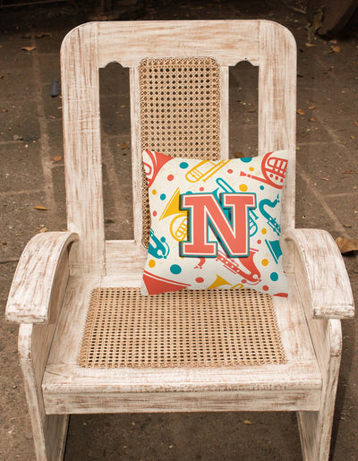 Letter N Retro Teal Orange Musical Instruments Initial Canvas Fabric Decorative Pillow CJ2001-NPW1414