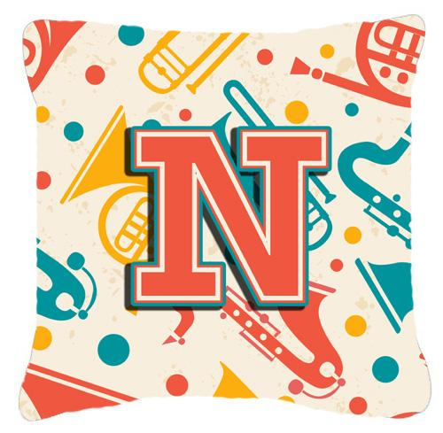 Letter N Retro Teal Orange Musical Instruments Initial Canvas Fabric Decorative Pillow by Caroline's Treasures